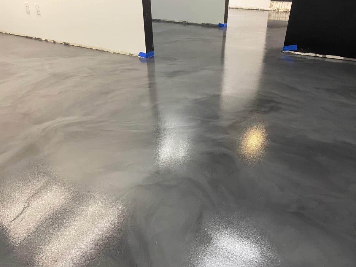 Metallic Epoxy Floor Gunmetal and Slate